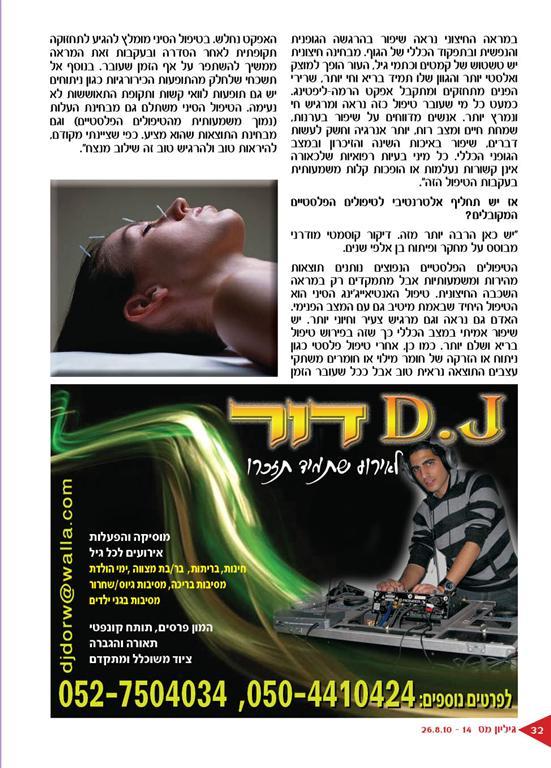 טיפולי אנטיאייג'ינג ודיקור קוסמטי בראיון שפורסם במגזין הברנז'ה חלק 3